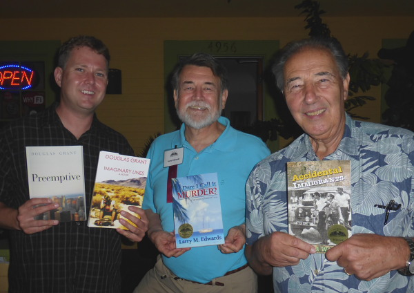 Authors Douglas Grant, Larry Edwards and David Ward discuss their books at the Te Mana Cafe